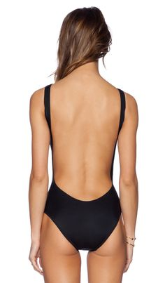 Norma Kamali KAMALIKULTURE Super Low Back One Piece in Black | REVOLVE
