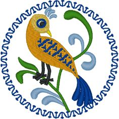 Country Folk Art Bird Embroidery Design