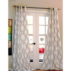 Amal Moroccan Flocked Faux Silk Curtain Panel   Overstock™ Shopping - Great Deals on Curtains