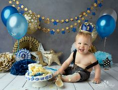 Star Cake Smash, Blue and Gold Cake Smash, Holly Heine Photography, Orange County Baby Photographer, Cake Smash Artist Children Photography, Family Photography, Newborn Pictures, Newborn Pics, Baby Boy 1st Birthday Party, Star Cakes, Gold Cake, Children And Family, Photographing Babies
