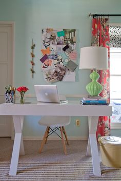 Bright and Happy Home Office Workspace