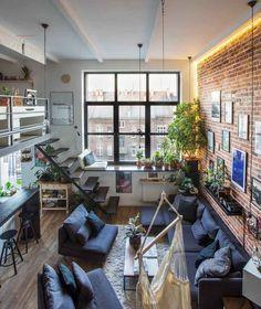 Loft House Design, Best Modern House Design, Dream Apartment, Apartment Interior, Modern Loft Apartment, Interior Design Living Room, Living Room Designs, Appartement Design, Loft Interiors