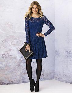 dressystar elegantes knielanges ballkleid spitzenkleid abendkleid blau in gr e 36 blaue. Black Bedroom Furniture Sets. Home Design Ideas