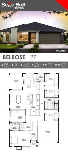 Single Storey House Design, the Belrose An ideal family ho 1 me for a growing family, the Belrose has everything you need to combine a healthy family lifestyle but also give you the space to spread out for some quiet time. 4 Bedroom House Plans, Garage House Plans, Family House Plans, Dream House Plans, Modern House Plans, Small House Plans, Modern House Design, House Floor Plans, Car Garage