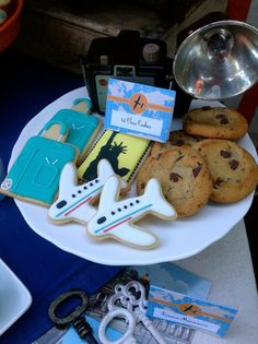 Decorated cookies at a Vintage Airplane birthday party!  See more party ideas at CatchMyParty.com!
