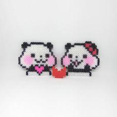 Cute couple panda. *credits: designs from weibo BabyPinkin拼豆* #panda #perlers #perlerbeadmaker #perler #perlerbead #perlerbeads #perlerart #perlerbeadart #minibeads #miniperler #hamabeads #handmade #hamaperler #fusebeads #meltybeads #ironbeads #拼豆 #拼豆豆 #拼拼豆豆 #手作