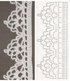 Trendy Crochet Lace Edging Pattern F Crochetlace - Diy Crafts - maallure Crochet Border Patterns, Crochet Boarders, Crochet Lace Edging, Crochet Wool, Crochet Diagram, Crochet Chart, Lace Patterns, Thread Crochet, Filet Crochet