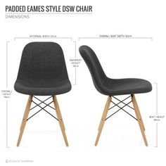 Padded Eames Style DSW Chair Dark Grey