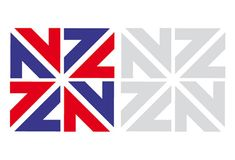 1974 New Zealand Commonwealth Games logo by Colin Simon (shown top). The mark cleverly combines the 7 and 4 of the year, the NZ of New Zealand, the Union Jack and even an X for the tenth games