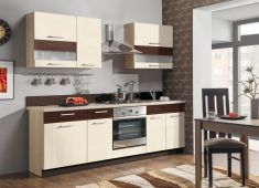 kuchyně Modena 240 jasmín lesk / eben lesk / zebrano