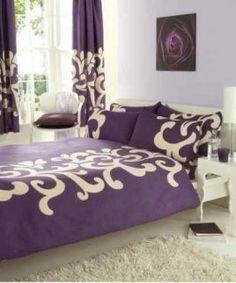 eco purple cream bedding set
