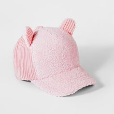 The Girls  Pink Sherpa Baseball Cap One Size by Cat and Jack gives your  young 63969cdd8210