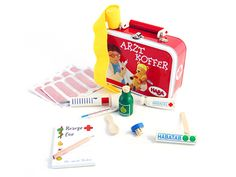 A Doctor in the House: Cure stuffed animals in style with wooden tools from Germany. The tin case, filled with useful extras like Band-Aids and a prescription pad, makes house calls a cinch.