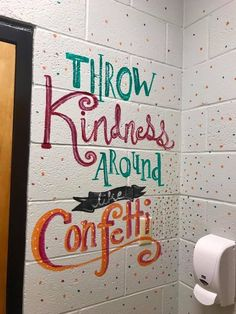 Woman paints motivational messages in middle school girls bathrooms – ABC News … - Modern School Hallways, School Murals, Art School, School Ideas, School Doors, School Projects, High School, Bathroom Mural, Bathroom Stall