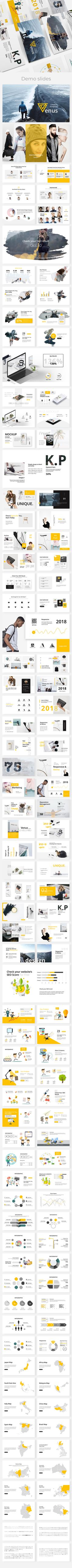 Buy Venus Creative Powerpoint Template by ESTE_Studio on GraphicRiver. Features: 120 unique slides Aspect Ratio no more broken images! Easy and fully editable (shape color, size, posi. Marketing Presentation, Corporate Presentation, Presentation Slides, Presentation Design, Presentation Templates, Keynote Design, Slide Template, Creative Powerpoint Templates, Creative Visualization