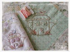 "Another little tea pot house stitchery....""Little House Tea Pot"" stitchery by Jenny of Elefantz Designs."