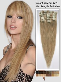 hair extensions clip in human hair 24 inches