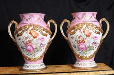 Pair Large Sevres Porcelain Urns Vases Painted French Floral