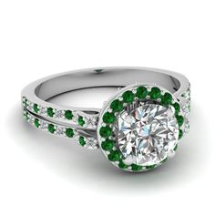 white-gold-round-white-diamond-engagement-wedding-ring-with-green-emerald-in-pave-set-FDENS3263RORGEMGR-NL-WG