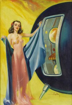 Pin Up Girl Space Age Vintage Retrp