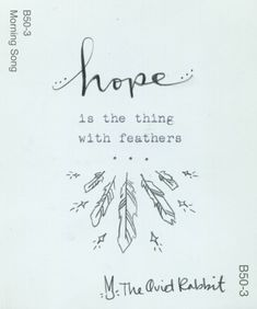 hope is the thing with feathers #emilydickinson