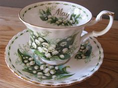 Royal Doulton tea cup and saucer for May in the Flowers of the Months series: Lily-of-the-Valley.