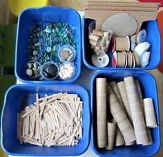 Just start with found items and loose parts. Keep them organized for easy visibility! Although I use baskets in my classroom for storing materials, plastic units (free, repurposed items are great!) also look nice as long as they are uniform in color and style. A mishmash of storage units distracts the eye from the contents.