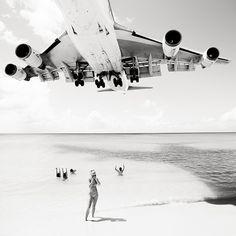 Jumbo Jet Over the Beaches of St. Martin by Josef Hoflehner #plane, #beach, #blackandwhite