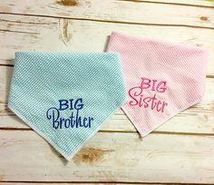 Big Brother Big Sister Dog Bandana.  Pink Stripe Seersucker or