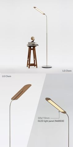 This is an LG Chem OLED light floor lamp. The sensible and modern design was made with a 320x110mm rectangular type panel. You Create, We Light. www.lgoledlight.com #LGChem #OLED #light #floorlamp #interior #design