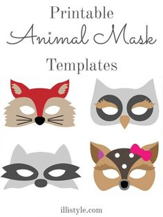 Printable Animal Mask Templates - This could help you with your DIY Halloween costumes! found on illistyle.com