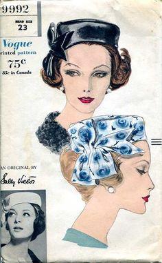 1960s Sally Victor pillbox hat pattern - Vogue 9992