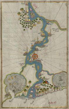 "Piri Reis (Muhyiddin Piri Bey) : ""Map of the River Nile From Its Estuary South"" (Book of Navigation) - Giclee Fine Art Print Vintage Maps, Antique Maps, Piri Reis Map, Paris Map, Old Maps, Map Art, Art Reproductions, Fine Art Paper, Original Artwork"