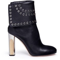 Alexander McQueen Eyelet embellished foldover leather ankle boots ($1,460) ❤ liked on Polyvore featuring shoes, boots and ankle booties