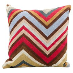 Add a pop of pattern to your sofa or loveseat with this chic wool pillow, showcasing a classic chevron motif for eye-catching appeal.  ...