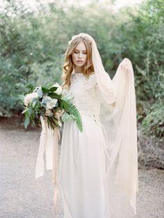 Heavenly blush bridal veil