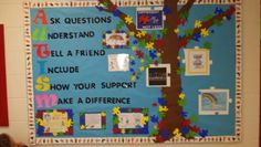 An Autism awareness bulletin board - promoting awareness - For the Love of OT! Autism Awareness Crafts, Autism Crafts, Autism Classroom, Classroom Door, Disability Awareness Month, Autism Speaks, School Social Work, Autism Resources, Autism