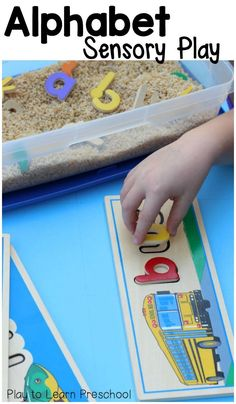 Fill the sensory table with alphabet noodles and wooden letters for a learning center that includes tactile play and literacy at the same time.