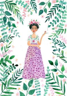 Frida Print painted with gouache and inspired by Frida's work and life. It was painted with gouache and now digitally printed on wonderful thick matt pap Diy Painting, Painting & Drawing, Frida Art, Red Stripes, Watercolor Illustration, Pattern Wallpaper, Easy Drawings, Gouache, Garden Art