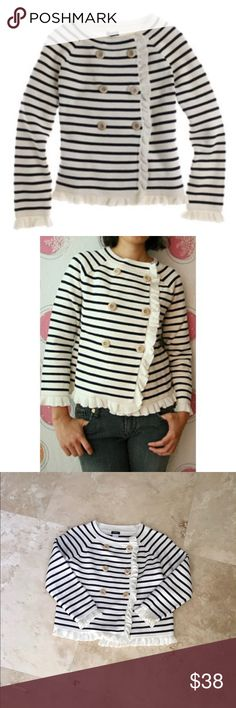 Navy/offwhite J Crew striped Katie sweater jacket YOU WILL BE A STAR IN THESE STRIPES. Perfect for Fourth of July Striped Katie Sweater Jacket ORIGINAL PRICE $158.00 A striped sweater jacket featuring a crew neckline, double breasted row of buttons, & ruffle details. Polished, feminine, Milano-knit charm, framed by a romantic trim at placket & hem.  Banded crewneck. Double-breasted.  Three-quarter raglan sleeve. Hits at hip. 100% cotton Excellent condition, blue and white cardigan. J. Crew…