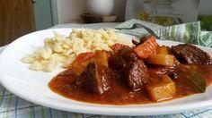 Jehněčí na víně se zeleninou Thai Red Curry, Pork, Beef, Ethnic Recipes, Kale Stir Fry, Meat, Pork Chops, Steak