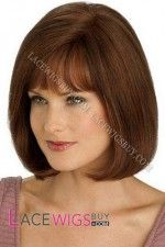 You Can get Inexpensive And Wonderful Affordable Bobs Chin Length Auburn Silk Top Human Hair Wig With Discounted Price From The Most Reputable Short Wigs Store Short Bob Wigs, Long Wigs, Long Bob Hairstyles, Wig Hairstyles, Casual Hairstyles, Sweet Hairstyles, Remy Human Hair, Human Hair Wigs, Wigs For Cancer Patients