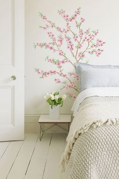 peach branch wall decal