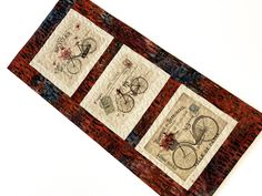 Antique Bicycle Wall Hangings, Fiber Art Quilts, French Bike prints, Cycling Wall Art, 19.5 x 9, Quilted Paris Art, Bike Lovers Gift, Red