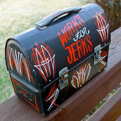 Work's for Jerks // pinstriped vintage lunch pail