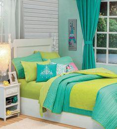 Twin and Full Size Girls and Teens Paris Aqua Comforter Set  #VNG