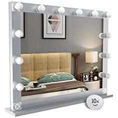 Nitin Hollywood Style Lighted Vanity Mirror, Tabletop Makeup Mirror with Dimmer Lights, Touch Control Large Cosmetic… Hollywood Lighted Vanity Mirror, Hollywood Lights, Lighted Wall Mirror, Makeup Vanity Mirror, Makeup Mirror With Lights, Vanity Mirrors, Wall Mirrors, Hollywood Fashion, Hollywood Style