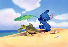 Stitch and turtles watercolor.