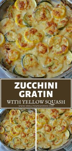 A quick and easy vegetable skillet recipe you must try this summer! Zucchini Gratin with Yellow Squash will be an instant family favorite. Tender pieces of zucchini and yellow squash are baked in a mouthwatering creamy cheesy sauce for a delectable summer menu idea! Zuchinni Recipes, Veggie Recipes, Vegetarian Recipes, Cooking Recipes, Healthy Recipes, Baked Squash And Zucchini Recipes, Pizza Recipes, Vegetable Gratin Recipes, Gourmet