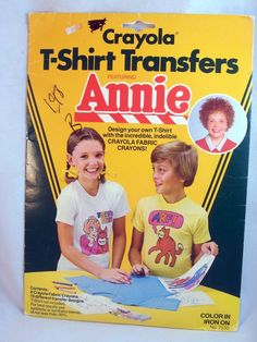 I use to have this.... I still have the package but, no more sheets :( Crayola / LITTLE ORPHAN ANNIE Movie ~ Vintage 1982 T-Shirt Transfers, Unopened! by ArtsetMetiersUT on Etsy